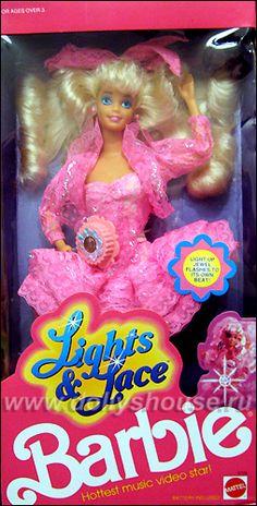 Lights & Lace Barbie. had her. I lost her light up belt tho. damn.