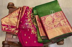 Bright Big Border Silk Sarees From Teja Sarees New Saree Blouse Designs, Fancy Blouse Designs, Bridal Blouse Designs, Sari Blouse, Magam Work Blouses, Teja Sarees, Maggam Work Designs, Indian Bridal Sarees, Stylish Blouse Design