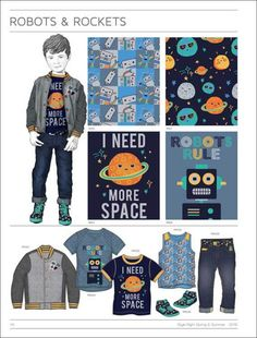 Style Right Kidswear Trend Book - Spring/Summer 2016 Boys Fashion - intergalactic, space theme with dark colors and denim - Fashion Themes, Boy Fashion, Fashion Colours, Cheap Fashion, Kids Prints, Kind Mode, Kids Wear, Boy Outfits, Silhouette