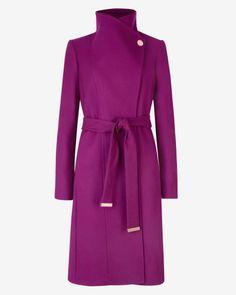 Long wool wrap coat - Pale Purple | Jackets & Coats | Ted Baker