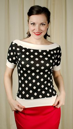 Sourpuss Clothing She's a Rebel Black Dot Top