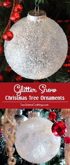 glitter snow christmas tree ornaments