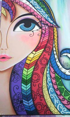 Romi lerda illustration artwork paintings in 2019 sanat, resim, çizim. Doodle Art, Arte Popular, Whimsical Art, Fabric Painting, Face Art, Painting Inspiration, Watercolor Art, Art Drawings, Art Projects