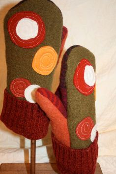 Upcycled sweater mittens from whimsiedots on etsy