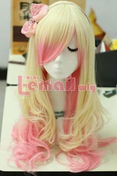 Amazon.com: 63cm Long Zipper Beige+pink Wavy Cosplay Hair Wig Rw157: Toys & Games.......SO Want this Color!!!