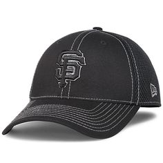 San Francisco Giants Black Neo 39THIRTY Stretch Fit Cap by New Era Fitted  Caps d762060d4ad6