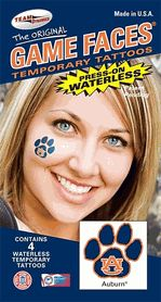 b82145c6b Auburn AU Tigers Game Faces Waterless Temporary Paw Tattoos - Set of 4  $3.25 Tigers Game