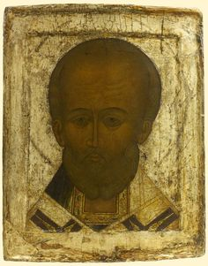 Detailed view: E002. Saint Nicholas the Wonderworker- exhibited at the Temple Gallery, specialists in Russian icons