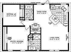 800 Sq FT 2 Bedroom Floor Plans | Manufactured Home Floor Plans | 800 sq ft - 999 sq ft
