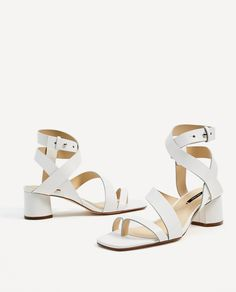 ZARA - WOMAN - LEATHER STRAPPY HEELED SANDALS
