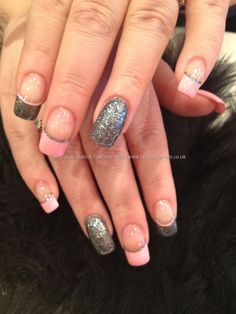 Charcoal grey glitter and baby pink freehand nail art...