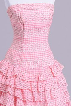 1950's pink and white ruffled gingham vintage day dress