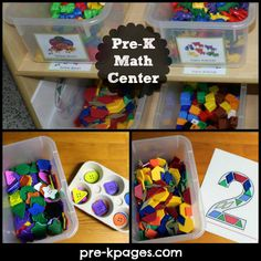 DAP: Math Center Materials for Your Preschool, Pre-K, or Kindergarten Classroom. Having math available throughout the classroom is a great idea so children can play and not even realize that they are leaning at the same time. Numbers Preschool, Kindergarten Centers, Preschool Learning, Kindergarten Classroom, Math Centers, Montessori Math, Learning Centers, Teaching Math, Fun Math