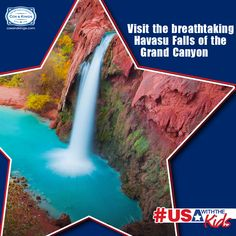 Waterfalls can be found all over America, and it's difficult to choose which ones to visit. We suggest you don't miss out on the picturesque red cliffs and blue waters at Havasu Falls in the Grand Canyon