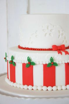 just the top cake? with lacey doiley style overlays and red beading?