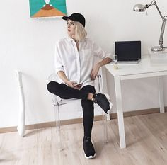 Get this look: http://lb.nu/look/8217877 More looks by Ebba Zingmark: http://lb.nu/ebbaz Items in this look: Reebok Instapump Sneakers, Louis Ghost Chair #casual #minimal #sporty