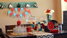 red & aqua color scheme for party decor