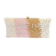 S7735MC Multi-color Crystal in Gradual change effect Lady fashion Bridal Metal Evening purse clutch bag case handbag