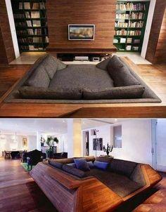 "Cool sunken living room image via ""I love creative designs and unusual ideas"" at www.Facebook.com/LoveDesignCreatecom"