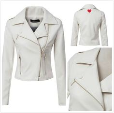 Fashion Slim Long Sleeve Laper Collar Zip Leather Jacket