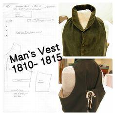 1810 - 1815 Men's vest pattern from extant garment.