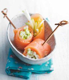 Roulés de saumon fumé et pomme granny à la sauce légère