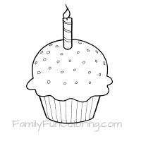 birthday cupcake printable for birthday cape - Cupcake Candle Coloring Page