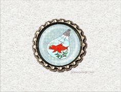 -s44- Kronkorken Magnet GOLDFISCH TO GO bottlecap von Mondcatze´s Zauberwerkstatt auf DaWanda.com