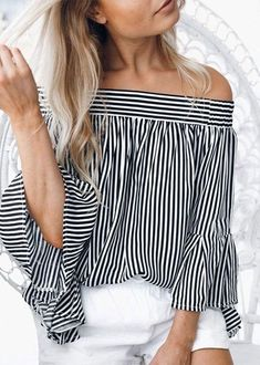 10d151f0ab0bca Off-the-shoulder Stripes Long Sleeves Top