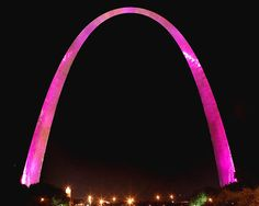St. Louis Arch lighted up in pink for breast cancer