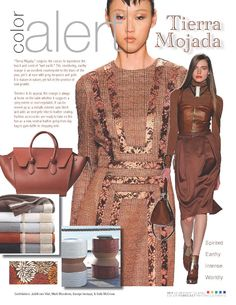 """November Color Alert - """"Tierra Mojada,"""" conjures the senses to experience the  touch and scent of """"wet earth."""" This moldering, earthy orange is an excellent counterpoint to the blues of the year, yet is at ease with grey, turquoise and gold. It is mature in nature, yet full of the promise of new growth."""