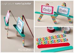 Miss Kindergarten: #ScotchEXP {craft stick name tag holders}