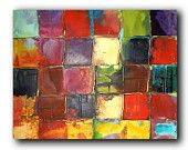 Original Mosaic style Art by Caroline Ashwood - Textured and contemporary modern painting on canvas - Ready to hang