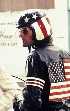Peter Fonda, Easy Rider, my 1st hero!  At 14, I had a helmet and a jacket like the one in the movie.