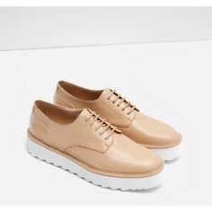 Zara Flat Platform Lace-Up Shoes (108.560 COP) ❤ liked on Polyvore featuring shoes, platform shoes, zara footwear, zara shoes and vinyl shoes