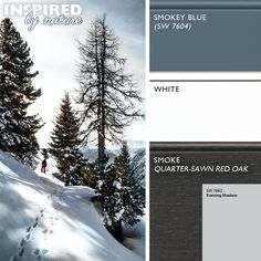 Inspired By Nature: Redesign Your Kitchen with Winter's #Color Palette - In this #color palette, Dura Supreme's Smoke stain on Quarter-Sawn Red Oak contrast with the White paint like trees contrast the snow. While Dura Supreme's Personal Paint Match finish in Smokey Blue is a beautiful complimenting finish for a feature piece like a #kitchen island and Sherwin-Williams Evening Shadow SW 7662 for the walls resembled cool #winter skies. - Dura Supreme Cabinetry #whitekitchen