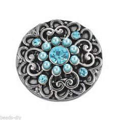 4PC Snap Button Blue Rhinestone Imitated Pearl Antique Silver Tone Heart 2cm
