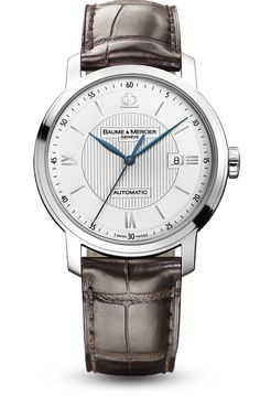 Discover the Classima 8731 steel watch for men with automatic movement, dark brown alligator strap and blued steel hands, designed by Baume et Mercier, Swiss Watch Maker.