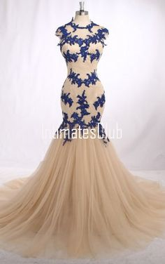 Champagne Tulle Chapel Train Appliques Lace Trumpet Mermaid Long Prom Dress