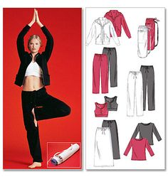 McCalls NEW and UNCUT Spa Essentials pattern in sizes L-XL exercise/spa/yoga/easy fit clothes. Has jacket, tops, pants, skirt and bag by TreasuresFromGranny on Etsy Mccalls Sewing Patterns, Bag Patterns To Sew, Pattern Sewing, Petite Activewear, Sewing Crafts, Sewing Projects, Sewing Ideas, Sewing Tips, Sewing Tutorials