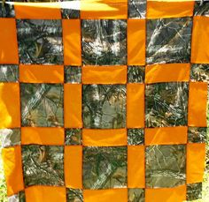 Orange and Real Tree Camo Quilt by DizziFrog on Etsy, $75.00