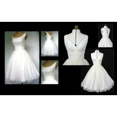 """""""50s inspired tea length gowns in Ivory chiffon"""" by elegance50s"""