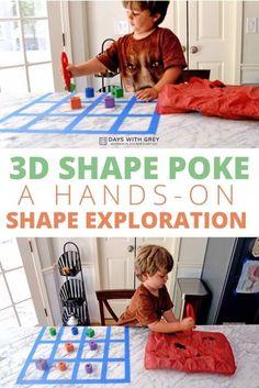 hands-on shape activity Geometry Activities, List Of Activities, Sensory Activities, Hands On Activities, Learning Activities, Learning Games For Preschoolers, Preschool Activities, Preschool Learning, Kindergarten Classroom