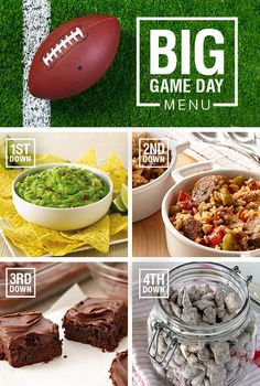 Turn your party into football HQ with a championship-worthy menu. From guacamole to brownies, you're covered appetizer through dessert. Click through to view these recipes: - McCormick® Guacamole - Cajun Slow Cooker - Chicken with Sausage- Mexican Chocolate Brownies - Chocolate Cinnamon Puppy Chow