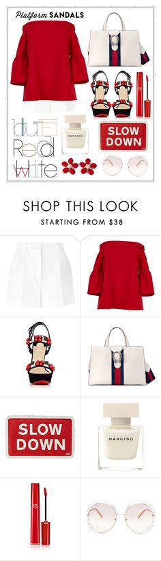 """Untitled #325"" by meryflower ❤ liked on Polyvore featuring Dolce&Gabbana, TIBI, Christian Louboutin, Gucci, Anya Hindmarch, Narciso Rodriguez, Giorgio Armani, Chloé, gucci and platformsandals"