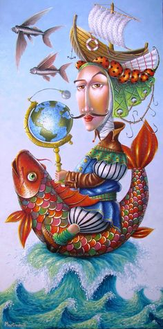 Naif painter Zurab Martiashvili 'The Sea Wolf' Art And Illustration, Illustrations, Art Fantaisiste, Georgia, Naive Art, Visionary Art, Fantastic Art, Whimsical Art, Surreal Art