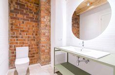 bathroom design, raw design bathroom, brick wall, white design, grren design