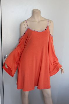 Orange Cold Shoulder Flare Bell Sleeve Loose Sexy Tunic Top XL #Other #Tunic…