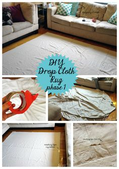 Cheap floor rug DIY! This is so fantastic and she broke it down step by step!