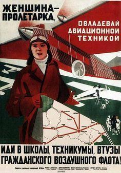 """Proletarian woman - concur avionics technology, enroll in schools and colleges of civil air fleet! "" USSR poster Бри-Бейн Мария Феликсовна 1931"